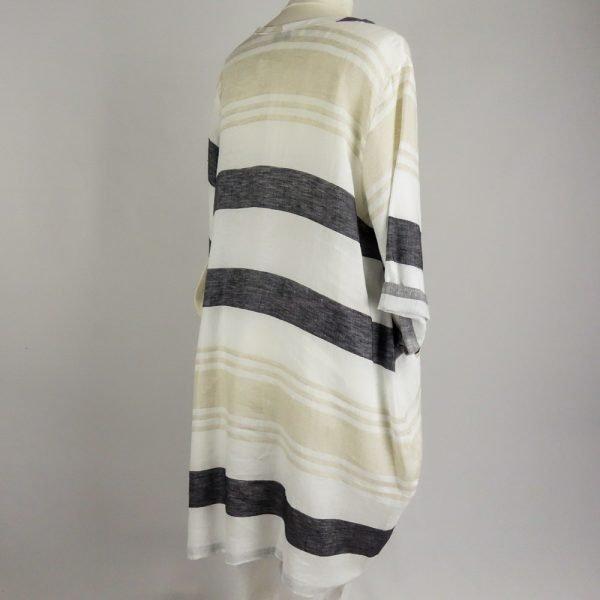 back of handmade linen summer sleeves short stripes dress for woman