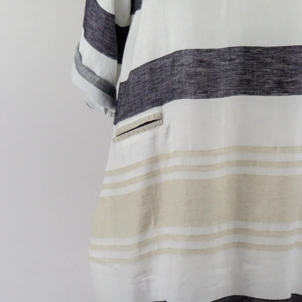 detail pocket handmade linen stripes dress for woman