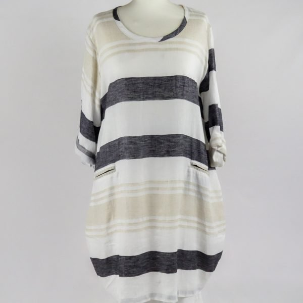 handmade linen summer sleeves short stripes dress with pockets for woman