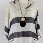necklace onhandmade linen summer sleeves dress with stripes for woman