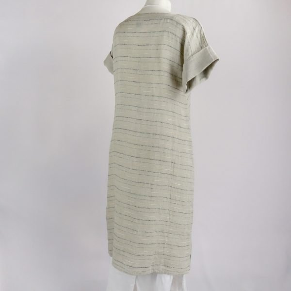 back handmade linen summer sleeves dress with beige stripes for woman