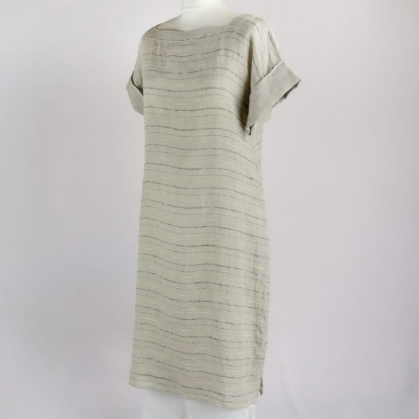 handmade linen summer sleeves dress with beige stripes for woman