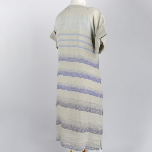 back handmade sleeves dress with blue stripes for woman made with natural fabric