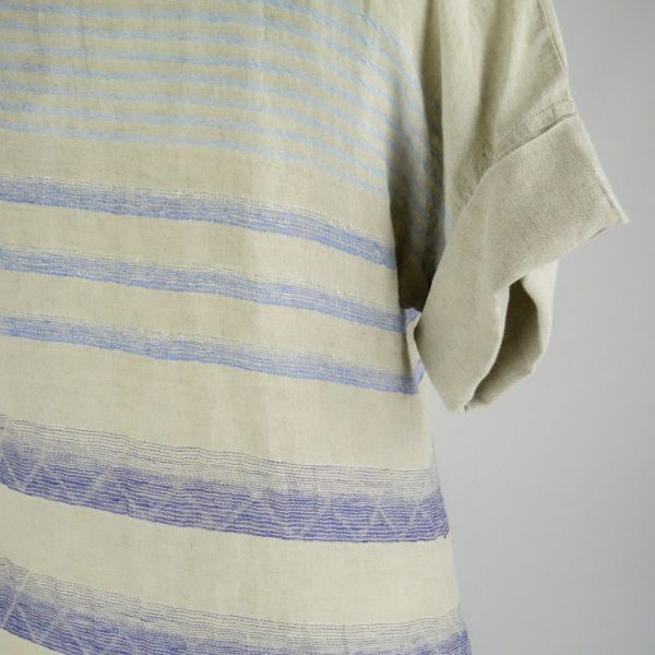 detail handmade sleeves dress with blue stripes for woman made with natural fabric