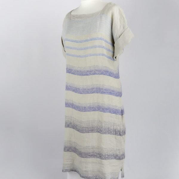 handmade sleeves dress with blue stripes for woman made with natural fabric