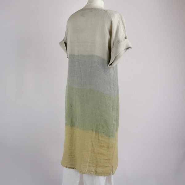 back handmade linen summer sleeves dress with stripes for woman
