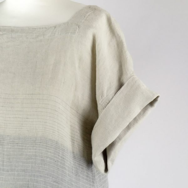 detail handmade linen summer sleeves long dress with stripes for woman