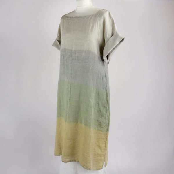 handmade linen summer sleeves dress with stripes for woman