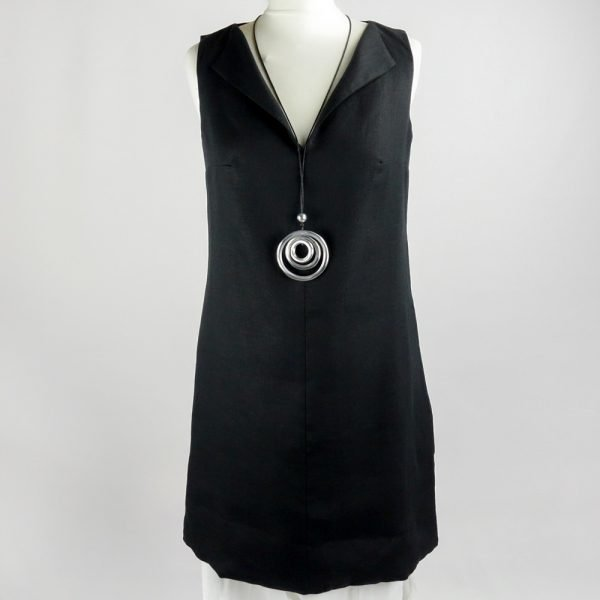 necklace on handmade sleeveless short dress for woman made with natural fabric