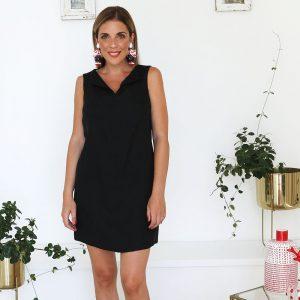 model with handmade linen summer sleeveless short black dress for woman