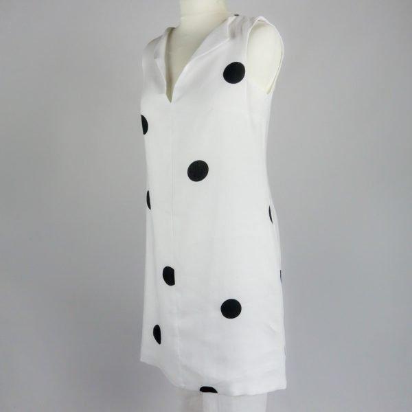 handmade linen summer sleeveless short white dress with dots for woman