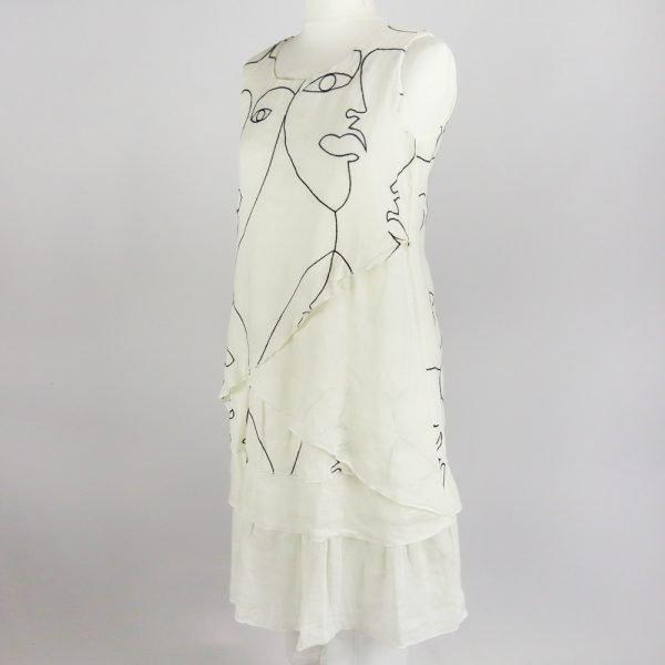 handmade linen summer sleeveless short dress with hand embroider for woman