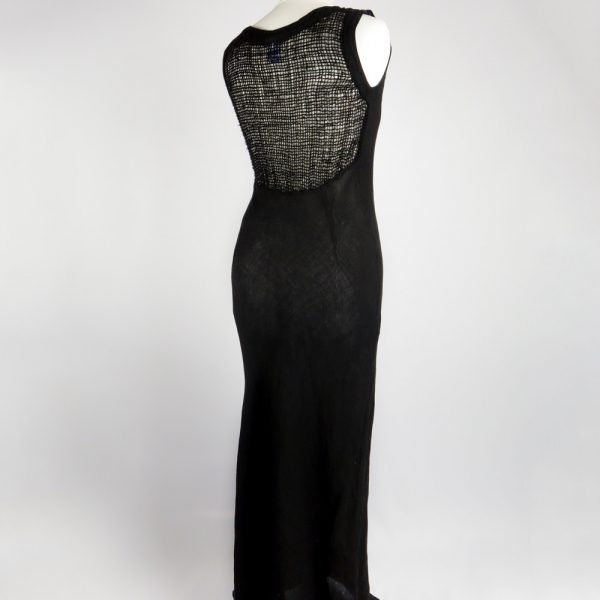 back handmade linen summer sleeveless long black dress for woman
