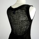 netted detail handmade linen black dress for woman