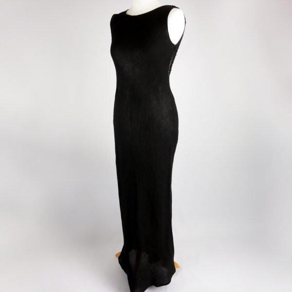handmade linen summer sleeveless long black dress for woman