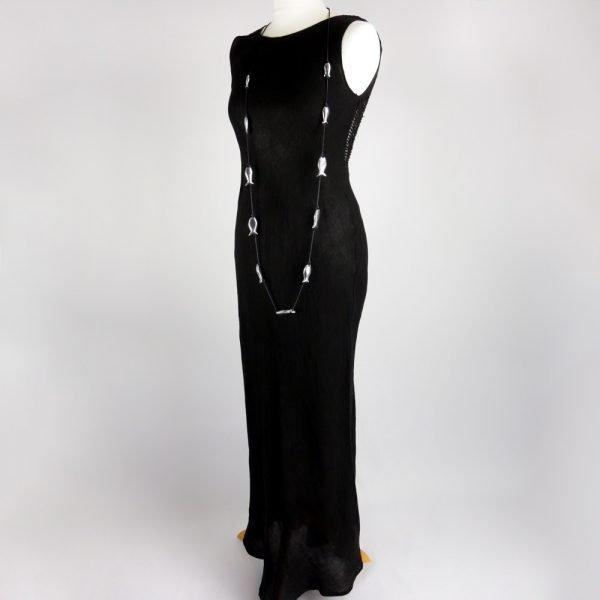 fish necklace and handmade linen summer sleeveless long black dress for woman