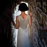 model with Handmade linen summer sleeveless long dress for woman netted detail