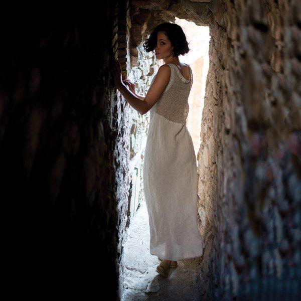 model with Handmade linen summer sleeveless long beige dress for woman