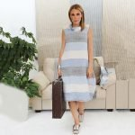 model with handmade linen summer sleeveless long dress with stripes for woman