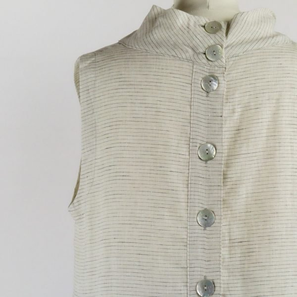 details buttons on handmade linen summer sleeveless dress with stripes for woman