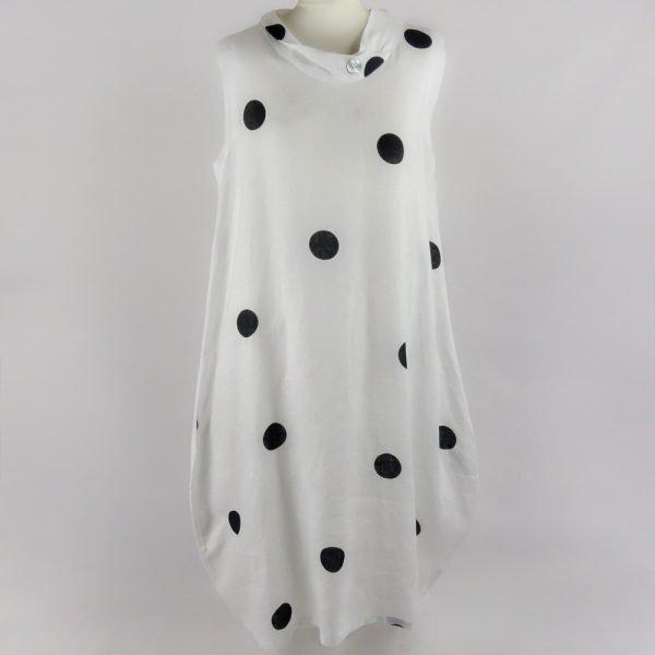 handmade linen summer sleeveless long dress with black dots for woman