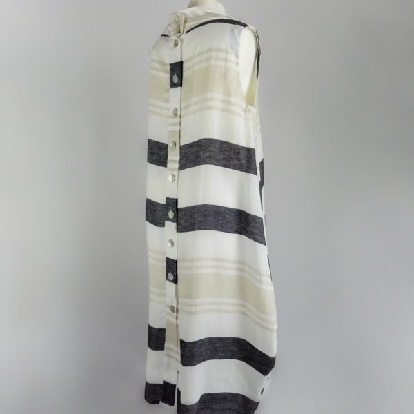 back of handmade linen summer sleeveless long dress with stripes for woman
