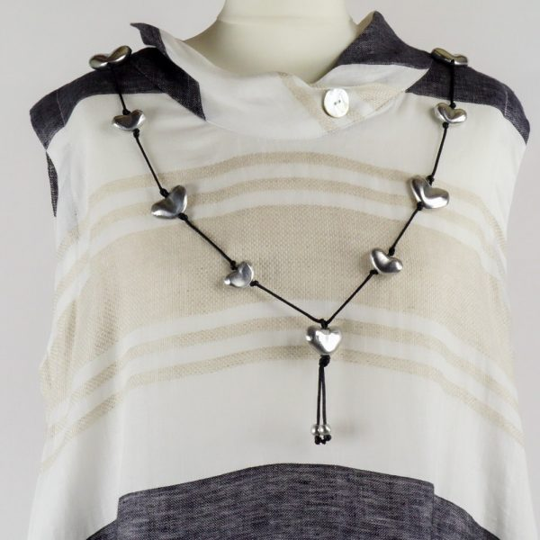 necklace on handmade linen summer sleeveless long dress with stripes for woman