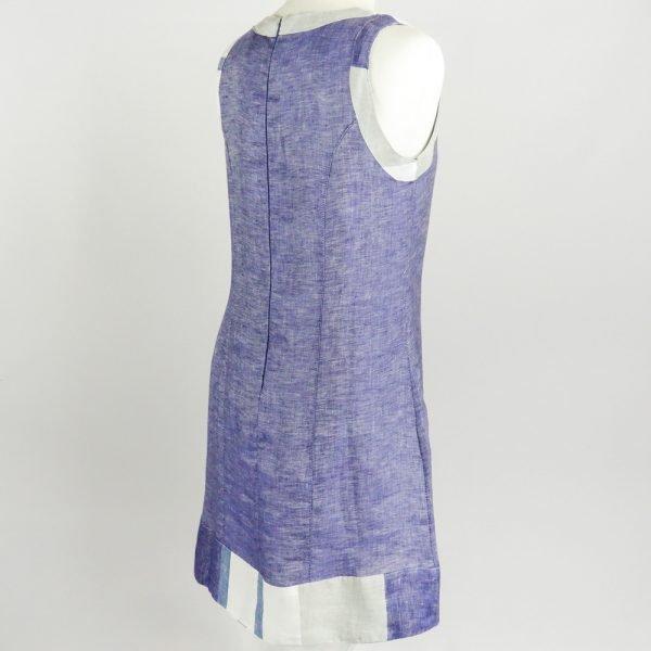 back of handmade linen summer sleeveless short blue dress for woman
