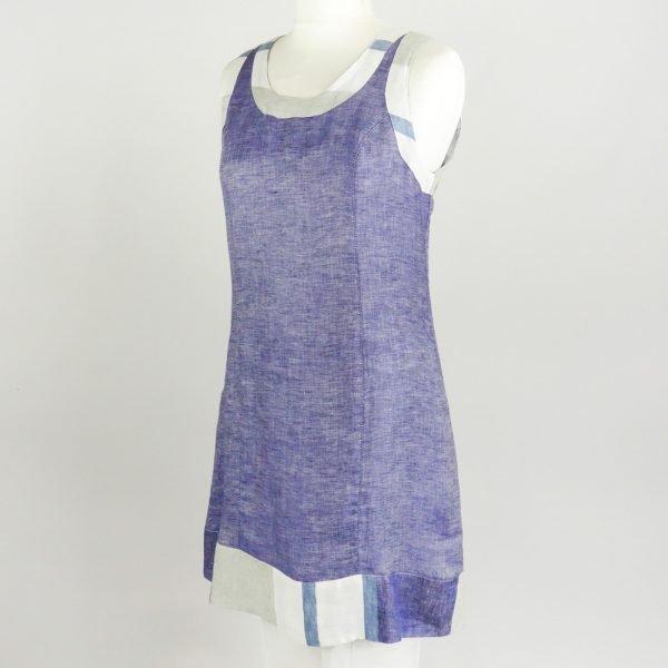 handmade linen summer sleeveless short blue dress for woman