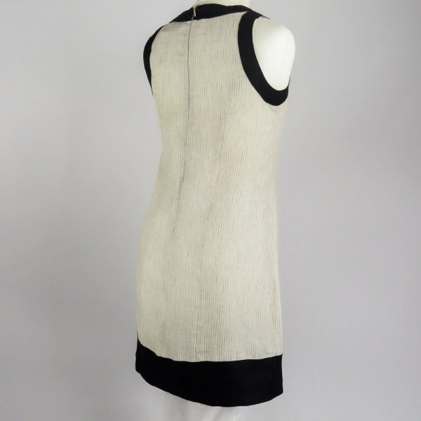 back handmade linen summer sleeveless short dress with beige stripes for woman