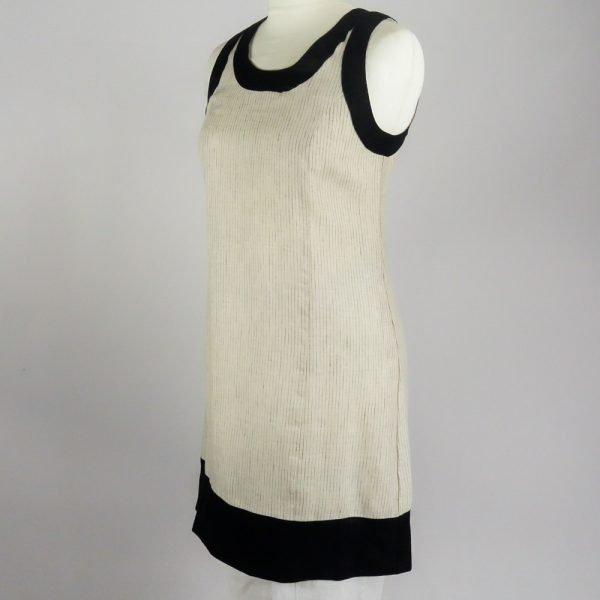 handmade linen summer sleeveless short dress with beige stripes for woman