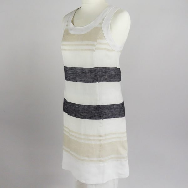 handmade linen summer sleeveless short dress with stripes for woman