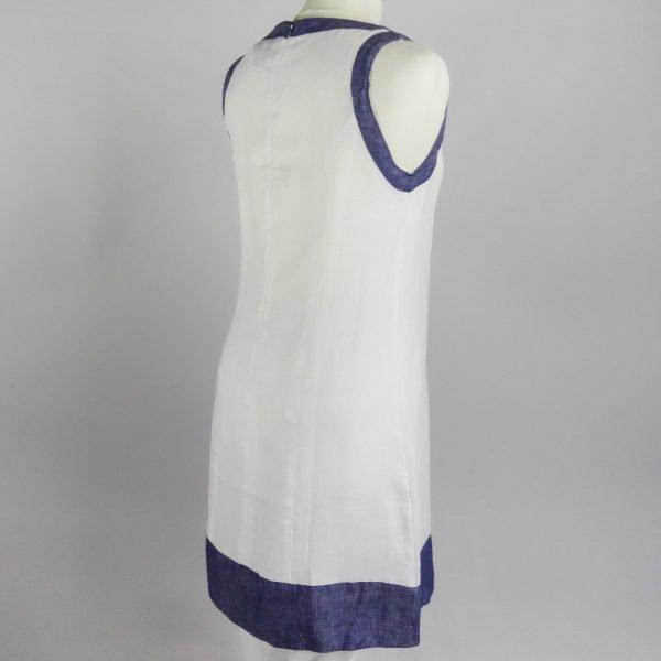 back of handmade linen summer sleeveless white short dress for woman