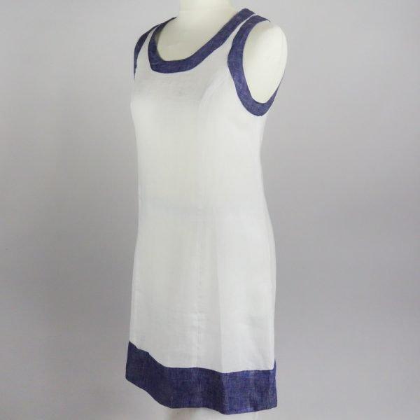 handmade linen summer sleeveless white short dress for woman