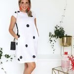 model with handmade linen summer sleeves short dress with dots for woman