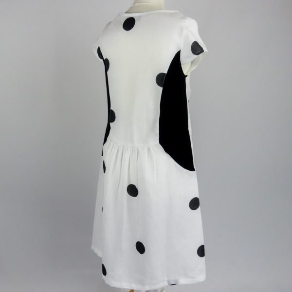 back of handmade linen summer sleeves short dress with dots for woman
