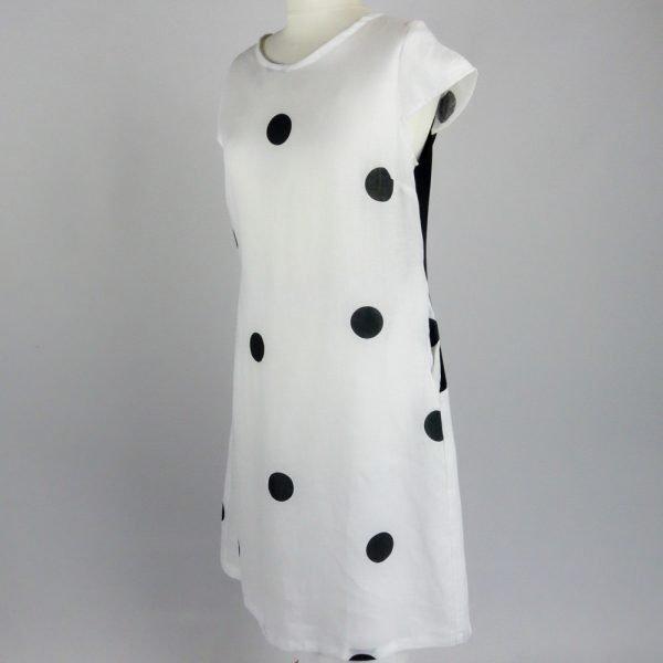handmade linen summer sleeves short dress with dots for woman