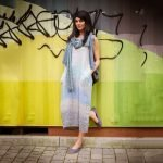 model with Handmade sleeveless long dress with blue stripes for woman made with natural fabric