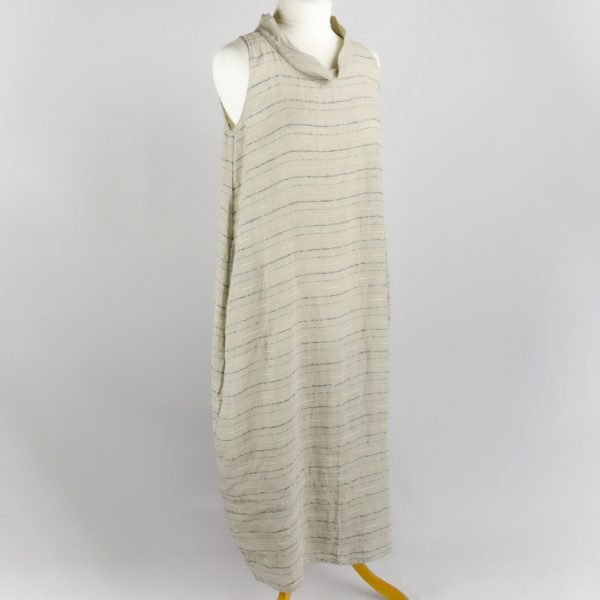 handmade sleeveless long dress with stripes for woman made with natural fabric