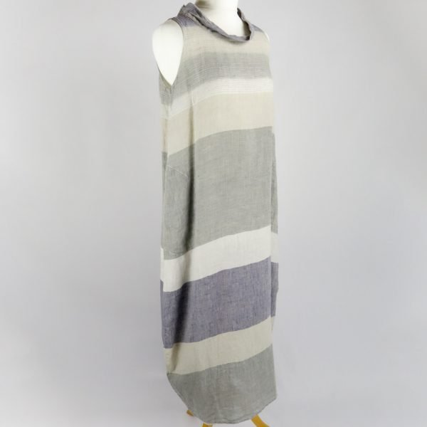 handmade linen summer sleeveless long dress with grey stripes for woman