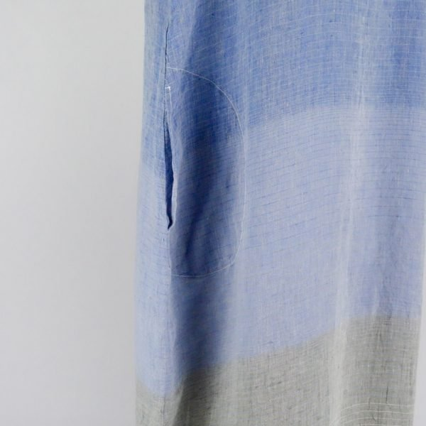 detail pocket handmade long dress with blue stripes for woman made with natural fabric