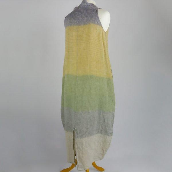 back handmade linen summer sleeveless long dress with stripes for woman