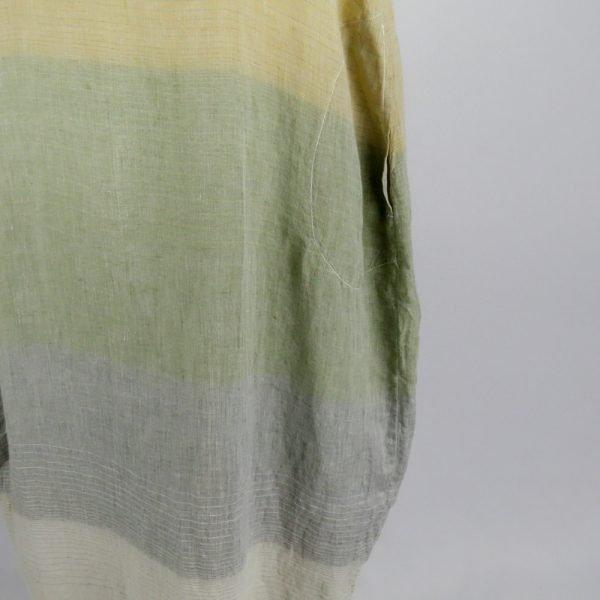 detail pocket handmade linen summer long dress with stripes for woman