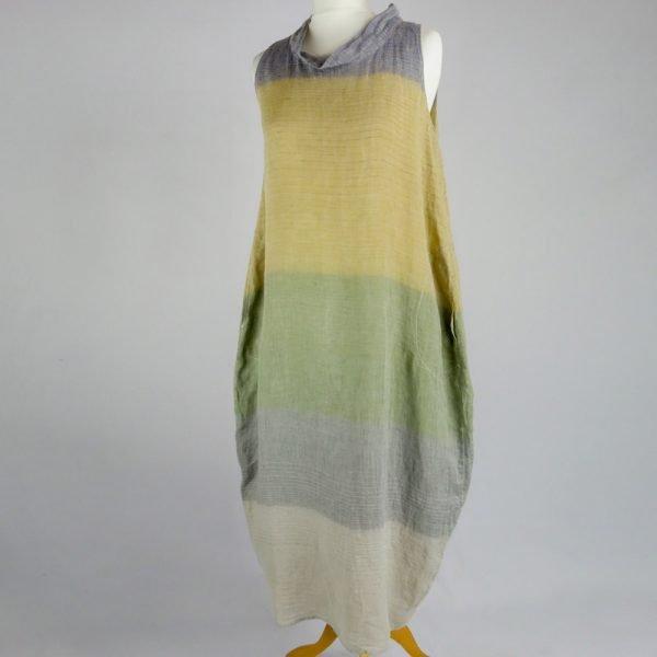 handmade linen summer sleeveless long dress with stripes for woman