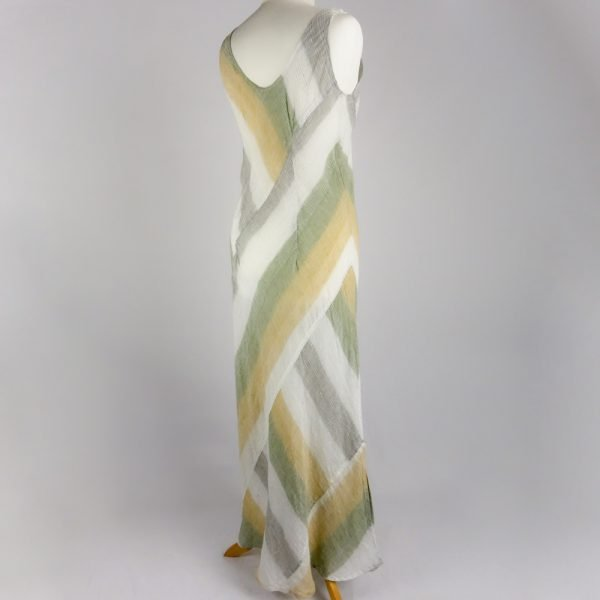 back handmade sleeveless long dress with stripes for woman made with natural fabric