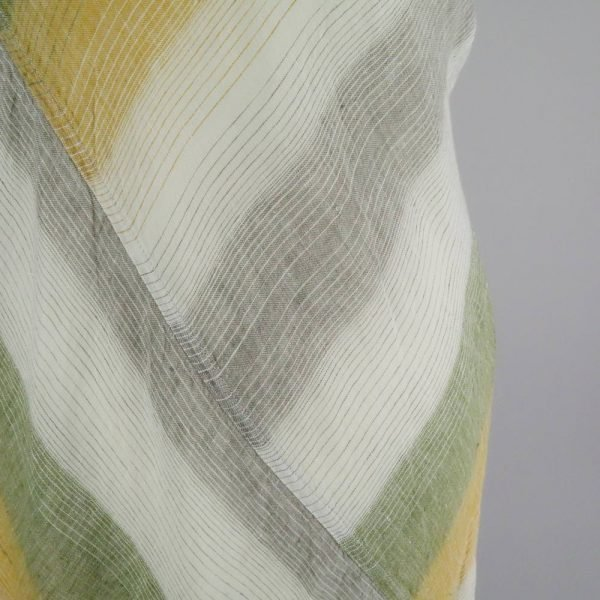 detail handmade dress with stripes for woman made with natural fabric
