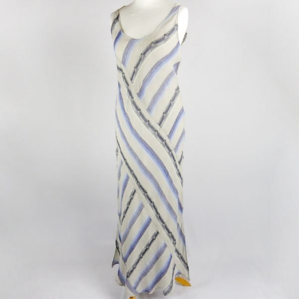 handmade sleeveless long dress with blue stripes for woman made with natural fabric