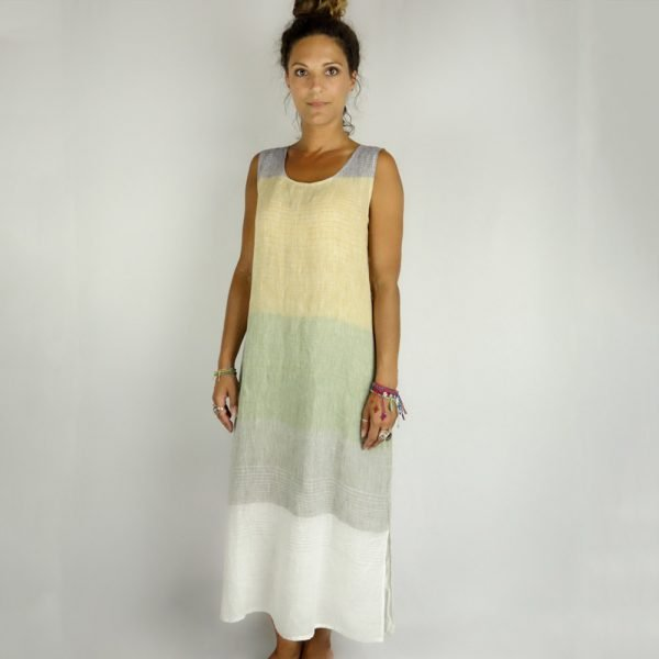 model with Handmade sleeveless long dress with stripes for woman made with natural fabric