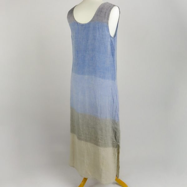 back handmade sleeveless long dress with blue stripes for woman made with natural fabric