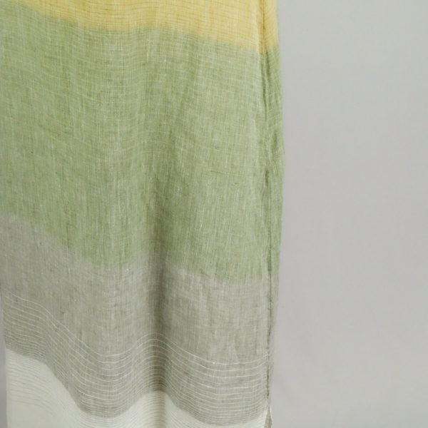 detail handmade linen dress with stripes for woman